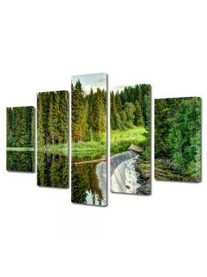Set Tablouri Canvas 5 Piese Peisaj Cascada mare