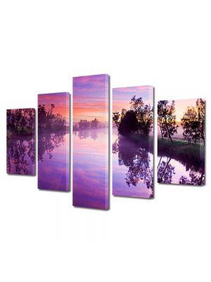Set Tablouri Canvas 5 Piese Peisaj Lacul violet 70 x 125 cm - 44% reducere