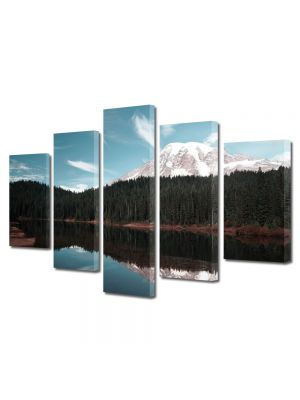 Set Tablouri Multicanvas 5 Piese Peisaj Creasta de munte