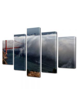Set Tablouri Multicanvas 5 Piese Peisaj Pod in nori