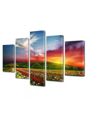 Set Tablouri Multicanvas 5 Piese Peisaj Linie de flori