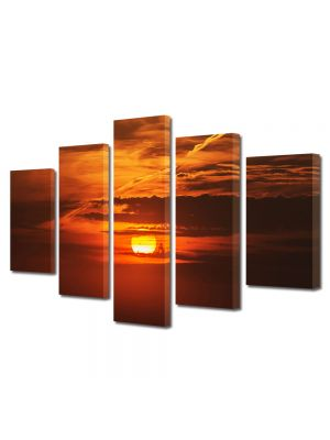 Set Tablouri Multicanvas 5 Piese Peisaj Soare epuizat