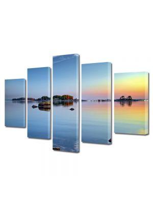 Set Tablouri Multicanvas 5 Piese Peisaj Stanci pe lac