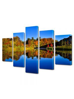 Set Tablouri Canvas 5 Piese Peisaj Albastru inchis al lacului