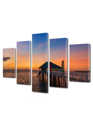 Set Tablouri Multicanvas 5 Piese Peisaj Casa pe ponton