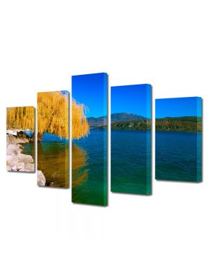 Set Tablouri Multicanvas 5 Piese Peisaj Salcie de toamna
