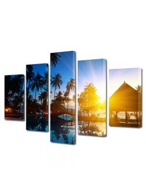 Set Tablouri Multicanvas 5 Piese Peisaj Exotic