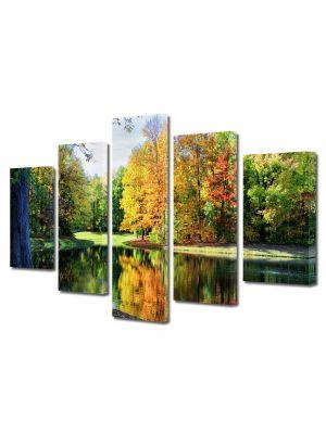 Set Tablouri Multicanvas 5 Piese Peisaj Toamna de pe lac