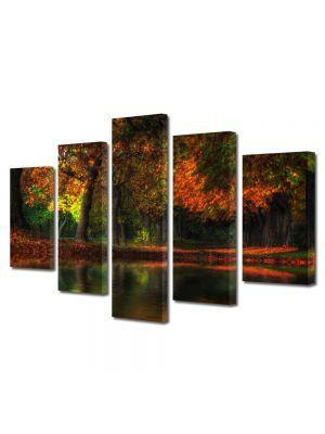 Set Tablouri Multicanvas 5 Piese Peisaj Toamna noaptea