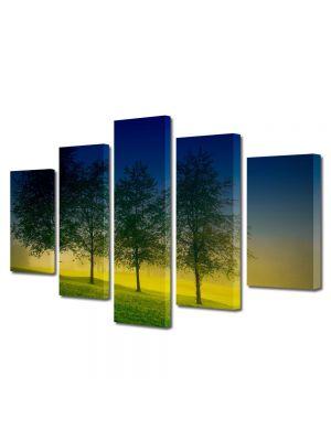 Set Tablouri Multicanvas 5 Piese Peisaj Patru Copaci