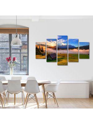 Set Tablouri Canvas 5 Piese Peisaj Cabana de lemn 70 x 125 cm - 44% reducere