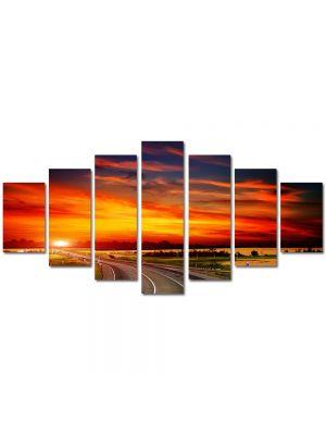 Set Tablouri Multicanvas 7 Piese Peisaj Sosea spre apus