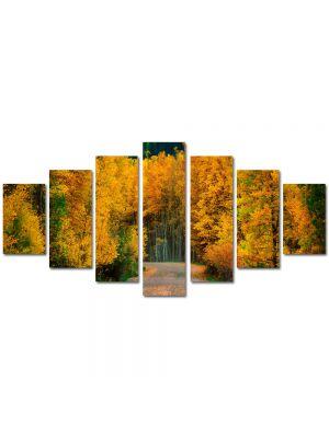Set Tablouri Multicanvas 7 Piese Peisaj Toamna pe drum