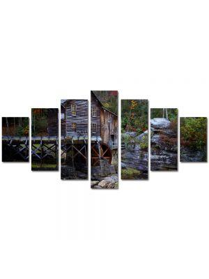 Set Tablouri Multicanvas 7 Piese Peisaj Moara de apa