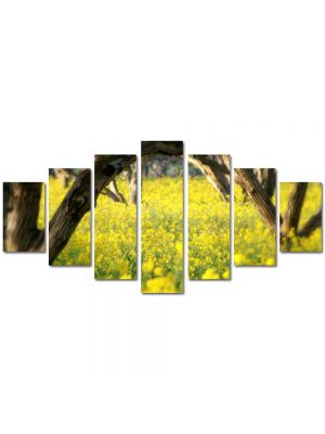 Set Tablouri Multicanvas 7 Piese Peisaj Floricele sub copaci