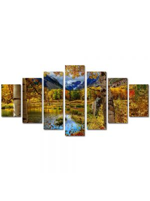 Set Tablouri Multicanvas 7 Piese Peisaj Toamna la munte