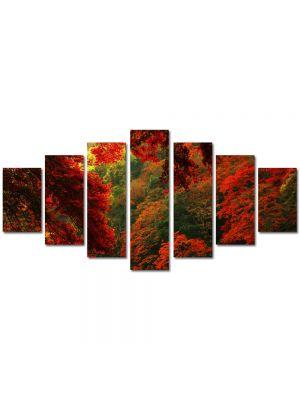 Set Tablouri Multicanvas 7 Piese Peisaj Rosu