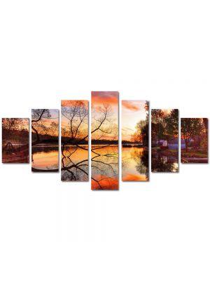 Set Tablouri Multicanvas 7 Piese Peisaj Toamna pe lac