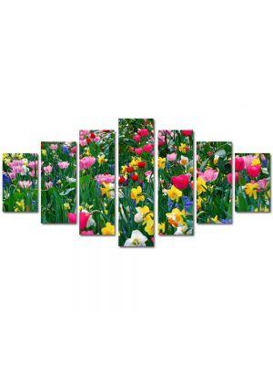 Set Tablouri Multicanvas 7 Piese Peisaj Flori inghesuite
