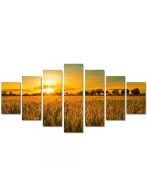 Set Tablouri Multicanvas 7 Piese Peisaj Apus in lanul de grau