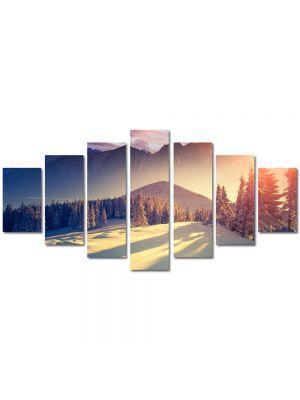 Set Tablouri Multicanvas 7 Piese Peisaj La munte iarna