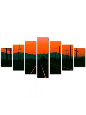 Set Tablouri Multicanvas 7 Piese Peisaj Cale ferata la apus