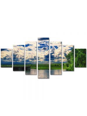Set Tablouri Multicanvas 7 Piese Peisaj Oglinda