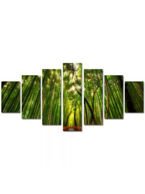 Set Tablouri Multicanvas 7 Piese Peisaj Padure de bambus