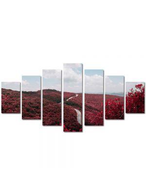 Set Tablouri Multicanvas 7 Piese Peisaj Totul este rosu