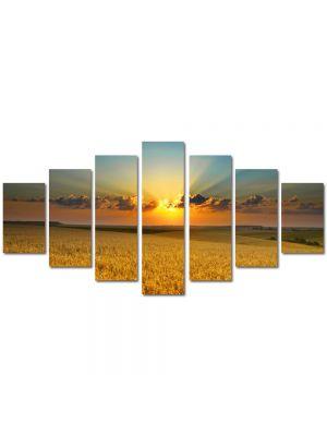 Set Tablouri Multicanvas 7 Piese Peisaj Apus peste lanul de grau