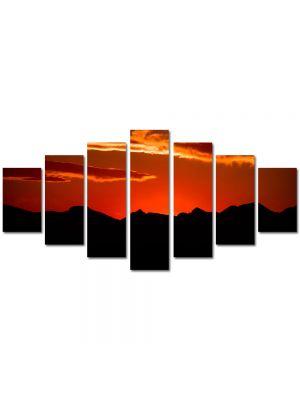 Set Tablouri Multicanvas 7 Piese Peisaj Rosu si negru