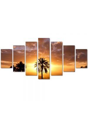 Set Tablouri Multicanvas 7 Piese Peisaj Palmier si soare
