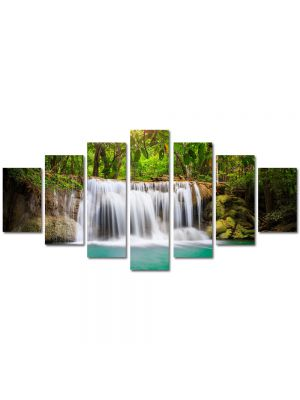 Set Tablouri Multicanvas 7 Piese Peisaj Cascada in jungla