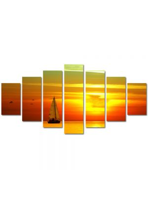 Set Tablouri Multicanvas 7 Piese Peisaj Barca cu panze