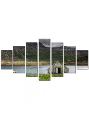 Set Tablouri Multicanvas 7 Piese Peisaj Cabanuta
