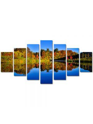 Set Tablouri Multicanvas 7 Piese Peisaj Albastru inchis al lacului