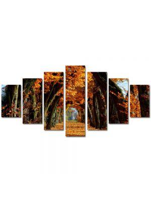 Set Tablouri Multicanvas 7 Piese Peisaj Tunel de toamna