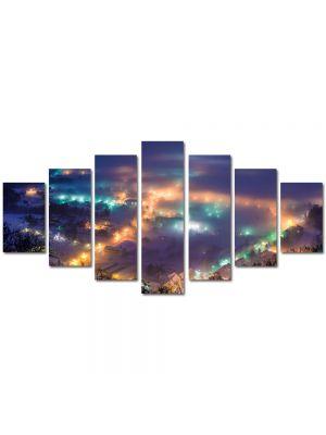 Set Tablouri Multicanvas 7 Piese Peisaj Oras noaptea