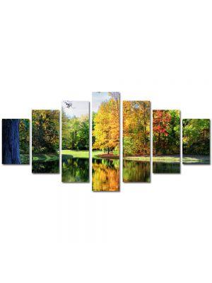 Set Tablouri Multicanvas 7 Piese Peisaj Toamna de pe lac