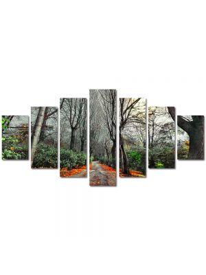 Set Tablouri Multicanvas 7 Piese Peisaj Drum rosu