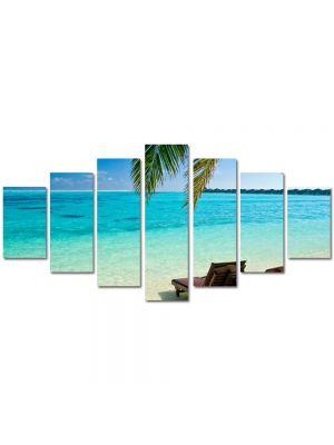 Set Tablouri Multicanvas 7 Piese Peisaj Sezlonguri la ocean