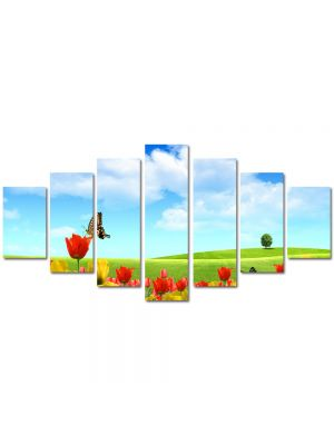 Set Tablouri Multicanvas 7 Piese Peisaj Fluturi
