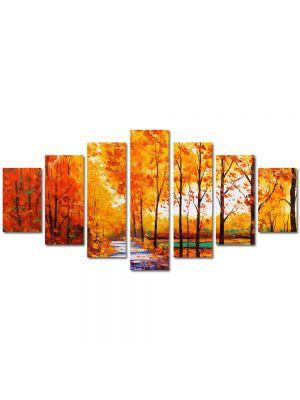 Set Tablouri Multicanvas 7 Piese Peisaj Drum printre copaci