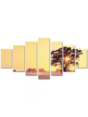Set Tablouri Multicanvas 7 Piese Peisaj Copac cu soare