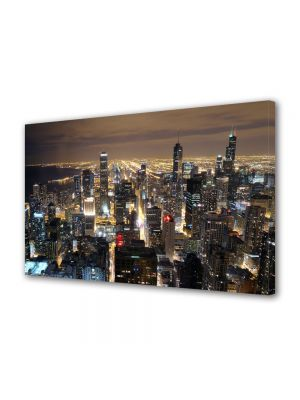 Tablou Canvas Luminos in intuneric VarioView LED Urban Orase Zgarie norii din Chicago