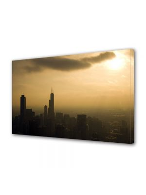 Tablou VarioView MoonLight Fosforescent Luminos in Urban Orase Chicago la apus