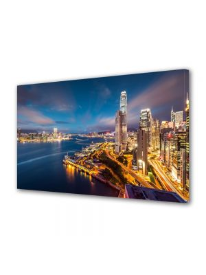 Tablou Canvas Luminos in intuneric VarioView LED Urban Orase Port in Hong Kong China