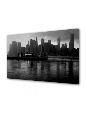 Tablou Canvas Luminos in intuneric VarioView LED Urban Orase New York pe apa