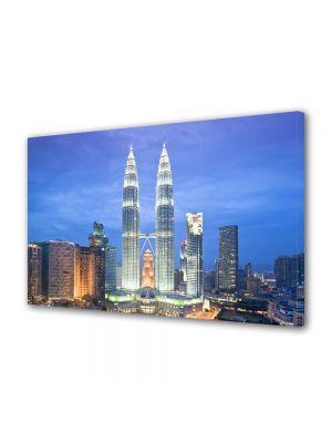 Tablou VarioView MoonLight Fosforescent Luminos in Urban Orase Turnurile din Kuala Lumpur