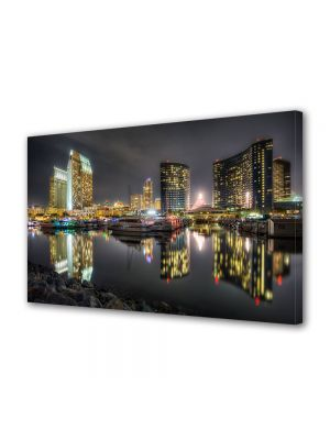 Tablou Canvas Luminos in intuneric VarioView LED Urban Orase Portul din San diego